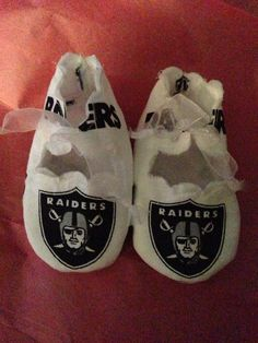 Items similar to Loley pops creations cute Oakland Raiders booties on Etsy 05fbaa70a