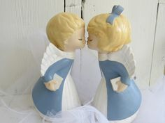 Shop for on Etsy, the place to express your creativity through the buying and selling of handmade and vintage goods. Vintage Kiss, Cherubs, Kissing, Boy Or Girl, Cinderella, Disney Characters, Fictional Characters, Angels, Bible