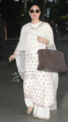 #KareenaKapoor spotted at the airport sporting #Sabyasachi white…