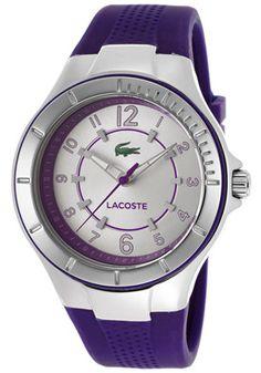 Lacoste Women's Silver Tone Dial Purple Silicone
