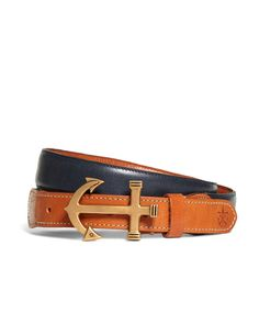 Brooks Brothers + Kiel James Patrick Men's Leather Anchor Buckle Belt