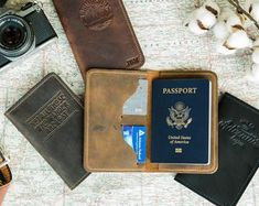 Corridor Room Minimalism Leather Passport Holder Cover Case Travel One Pocket