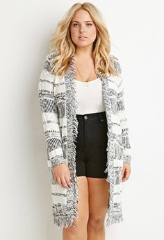 Fringed Open-Front Cardigan | Forever 21 PLUS - 2000162323