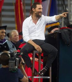 Academy Award-winning actor Matthew McConaughey gives the University Of Houston Commencement Address at TDECU Stadium on May 15, 2015 in Houston.