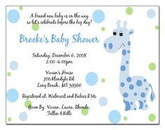 Giraffe Baby Shower Invitation Wording Light Blue And Black Text Bubble Baby  Shower Invite.