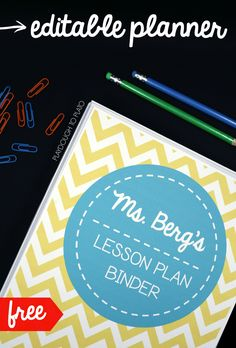 FREE editable lesson planner! Awesome lesson plan book and organization sheets for teachers.