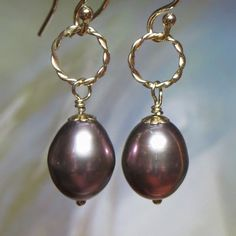 Purple/Mauve Black Freshwater Pearl Drop Earrings with Gold-Filled Twisted Rings by kauainanidesigns on Etsy