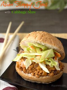 Yum! Asian Sloppy Joes with a tangy, delicious cabbage slaw from It's Yummi.com