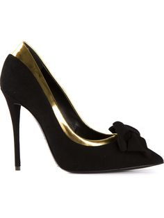Giuseppe Zanotti Design Bow Pumps - Anita Hass - Farfetch.com. Black and gold goatskin bow pumps from Giuseppe Zanotti Design featuring a pointed toe, a brand embossed insole, a contrast piped trim and a high stiletto heel. Measurements: item fits true to size, heel: 11 centimeters,Item ID: 10798891Giuseppe Zanotti hails from the Italian shoemaking town of San Mauro Pascoli and his career has seen him design shoes for luxury labels including Dior and Roberto Cavalli. $925