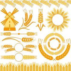 Пшеничные колосья и мельница - векторный клипарт | Wheat vector 3