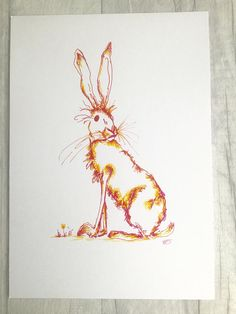 Hare greetings card, original ink illustration, hand drawn card, mad March hare, blank greeting card, birthday card, wildlife card
