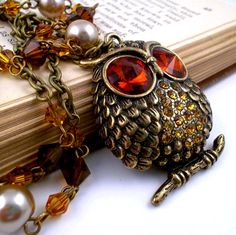 Crystal Owl Necklace Fall Jewelry Autumn by BeckysBeadBoutique, $44.00