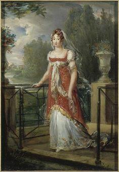 1807 Caroline Murat walking in the gardens of Château de Neuilly by François-Pascal-Simon Gérard (Versailles) | Grand Ladies | gogm