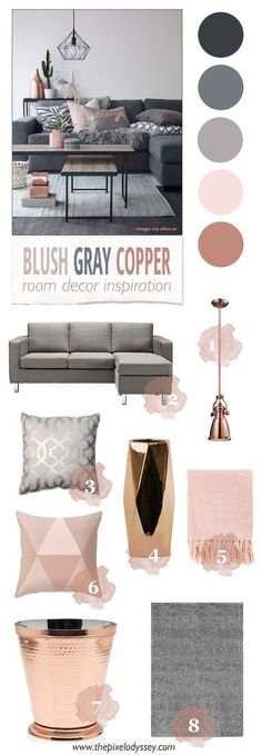 Home Decoration In Hindi Blush Gray Copper Room Decor Inspiration - The Pixel Odyssey.Home Decoration In Hindi Blush Gray Copper Room Decor Inspiration - The Pixel Odyssey Style At Home, Copper Room Decor, Living Room Inspiration, Color Inspiration, Living Room Decor Ideas Grey, Grey Living Room Ideas Color Schemes, Decor Room, Living Room Ideas Rose Gold, Gray Color Schemes
