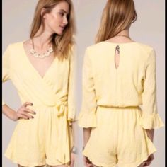 BEAUTIFUL EMBROIDERED ROMPER! Yellow Flowing Romper Has Front Sash, 100% Polyester. Pants Jumpsuits & Rompers