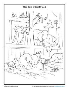 Animals In The Ark Sunday School Coloring Page