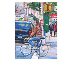 """Fine Art Print  8x10, """"Biker"""" blue red pink NYC City Painting by Gwen Meyerson on Etsy, $20.00"""