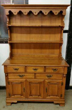 Vintage Hard Rock Maple Tell City China Hutch Buffet Cabinet Andover Origin Furniture
