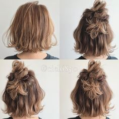 Bob and Greige お 客 Always bright and cute customers お 客 … – From Parts Unknown Short Grunge Hair, Short Hair Bun, Short Hairstyles For Thick Hair, Easy Hairstyles, Medium Hair Styles, Curly Hair Styles, Short Blonde Haircuts, Hair Arrange, Hair Setting