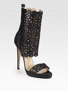 Oscar de la Renta Charlotte Scalloped Leather Platform Sandals