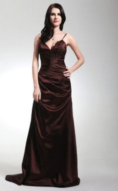 Sheath/ Column Spaghetti Straps Sweep/ Brush Train Elastic Woven Satin Evening/ Prom Dress