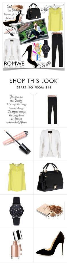 """""""Romwe Contest"""" by ramiza-rotic ❤ liked on Polyvore featuring Versace, River Island, Darling, Miu Miu, Mary Kay and Clinique"""