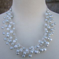 Glass Pearl White pearl Silver pearl Wire by BoutiqueBeading