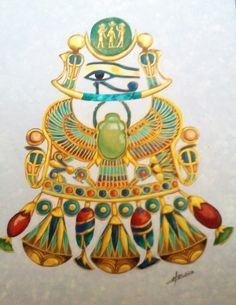 Le pectoral de Toutankhamon au scarabée. Acrylique, Christine Monsion