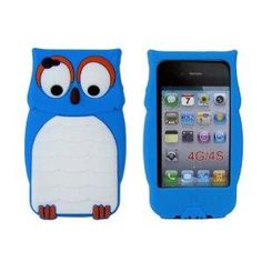 Owl Designs Silicone Case for Apple iPhone 4 4S Blue