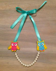 Little Girls Necklace OWLS and Pearls by lucyjory on Etsy