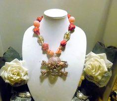 Gypsy Cowgirl Chic XL Belt Buckle Pink Skull Pirate Turquoise Statement Necklace #GypsyCowgirlChic #Statement