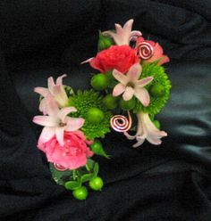 Prom Flowers - Serpentine Wristlet in pinks and chartreuse.