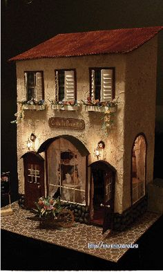 Miniature house interior Parisian cafe by Stacia Alexandrov Miniature Rooms, Miniature Houses, Dollhouse Dolls, Dollhouse Miniatures, 3d Home, Paperclay, Fairy Houses, Play Houses, Small World