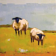 Sheep Pair 12x12 Original Oil Painting on Canvas by DonnaWalker