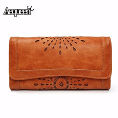 a3a0cb82301b AEQUEEN Wallets Women Hollow Out Leather Long Purse Women Coin Purses Brand Designer  Purse Lady Wallet Credit Card Holder Clutch-in Wallets from Luggage ...