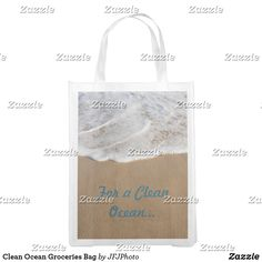 Shop Clean Ocean Groceries Bag created by JFJPhoto. Clean Ocean, Reusable Grocery Bags, Save The Planet, Carry On Bag, Folded Up, My Design, Cleaning, Purses, Prints
