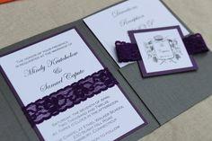 Laced Pocket Wedding Invitation  Elegant by decadentdesigns, $3.75
