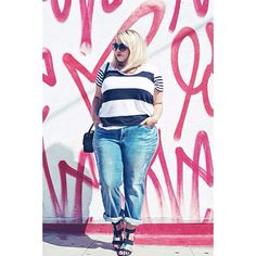 30 Life-Giving Plus-Size #OOTD Snaps  #refinery29  http://www.refinery29.com/plus-size-outfit-ideas#slide5  Who:@gabifresh Gabi Gregg shows her style stripes with this elevated off-duty uniform — strappy sandals and a tiny, boxy purse give it a sophisticated air.