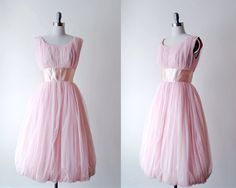 pink party dress. 1950's chiffon dress. full dress. girly prom dress. vintage 50's pink dress. by stickylipgloss on Etsy https://www.etsy.com/listing/175141309/pink-party-dress-1950s-chiffon-dress