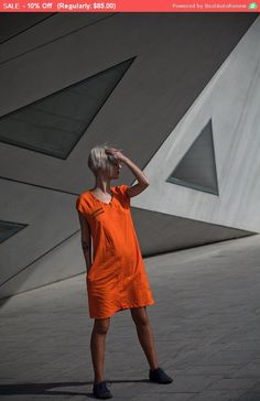 Summer Sale!!! A line ORANGE cotton asymmetrical mini dress with pockets