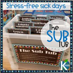 How many of us have dragged ourselves to work when we were not feeling well to avoid having to write sub plans? The Sub Tub was created to alleviate this stress and guilt by organizing substitute plans in advance! No more worries! No more stress! This resource includes: