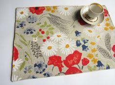 Linen poppies placemat, linen placemat, table placemat, table mat, dinning placemats, placemats set, Eastern placemat, Wedding placemat