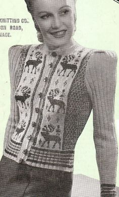 Vintage ladies stylish christmas reindeer cardigan jacket knitting pattern- look chic on christmas day in this fab jacket Christmas Knitting Patterns, Knit Patterns, Knitting Ideas, Sewing Patterns, Motif Vintage, Vintage Patterns, Crochet Patron, Knit Crochet, Vintage Jumper