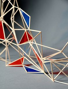 Line and shape and colour sculpture, geometric, modular, straw art