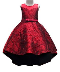 cecd843da Mia Belle Girls Holiday Red Floral Satin Fit & Flare Dress - Toddler & Girls