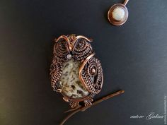 Сова и луна.Брошь.Brooch owl and the moon.autore Galina.