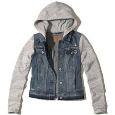 Hollister Hooded Denim Jacket (620 MXN) ❤ liked on Polyvore featuring outerwear, jackets, ripped medium wash, pattern jacket, pocket jacket, denim jacket, hooded jean jacket and utility jackets