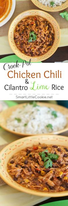 Super easy, time saving and perfectly tasty, this Crock-Pot Southwest Chicken Chili and Cilantro Lime Rice is the perfect meal for a special gathering or just whenever.   SmartLittleCookie.net
