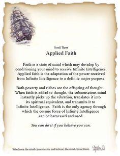 Napoleon Hill Scroll #3:  Applied Faith  - Napoleon Hill Foundation