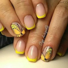 French Nail Art designs are minimal yet stylish Nail designs for short as well as long Nails. Here are the best french manicure ideas, which are gorgeous. Ongles Gel French, Gel Nails French, French Nail Art, Yellow Nails Design, Yellow Nail Art, French Tip Nail Designs, Nail Art Designs, Pedicure Designs, Butterfly Nail Art